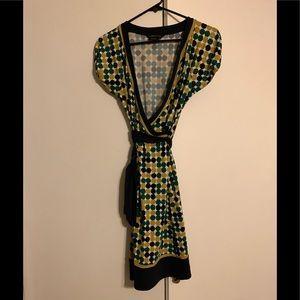 BCBG geometric wrap dress